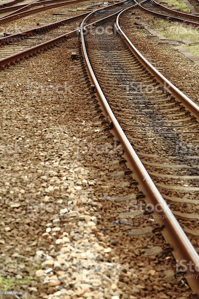 Which direction to take - railroad junction royalty-free stock photo