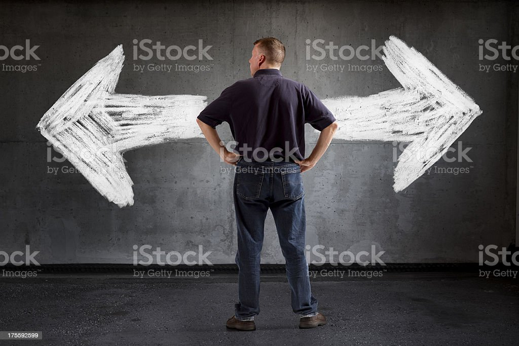 Which Way Do I Go? Casual Business. royalty-free stock photo