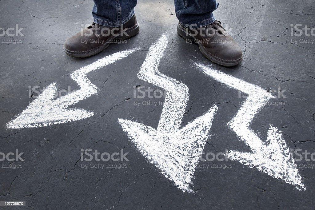 Which way to go - crooked paths stock photo