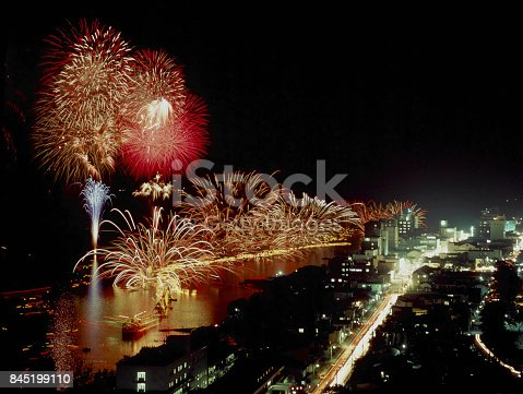 istock While impressed with red water Fireworks 845199110