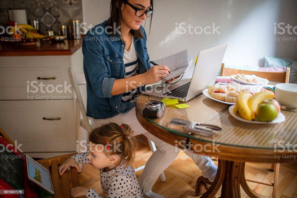 While mom is busy.. foto stock royalty-free