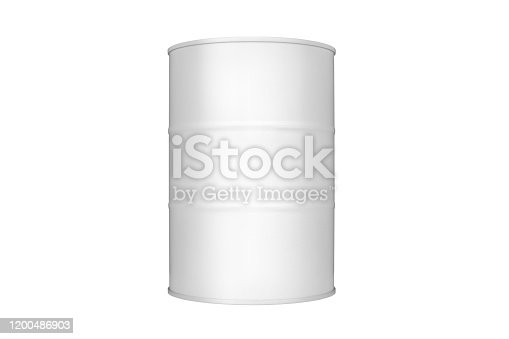 istock While round metal barrel on white background isolated close up, oil drum, steel keg, tin canister, aluminium cask, petroleum storage packaging, fuel container, gasoline tank, oil production industry 1200486903