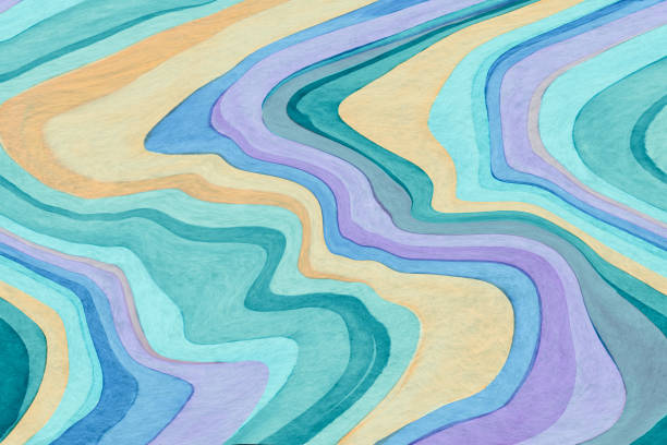 Whimsical abstract watercolor topographic background stock photo