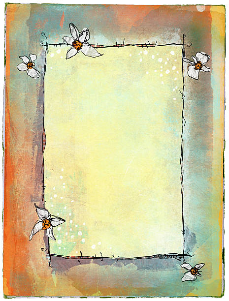 whimsical grunge background - spring border stock photos and pictures