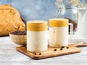 istock Whipped dalgona coffee drink in glass mug 1324851717