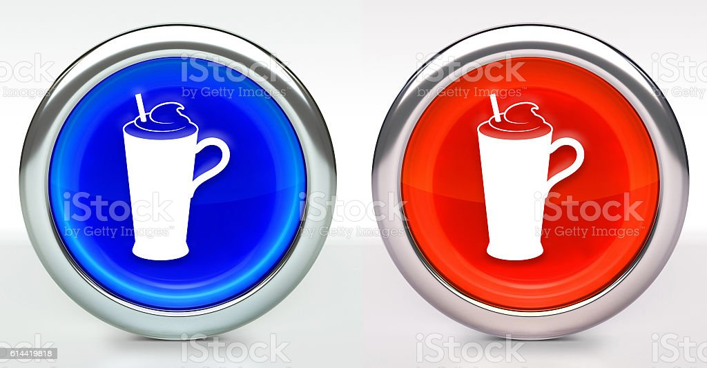 Whipped Drink Icon on Button with Metallic Rim stock photo