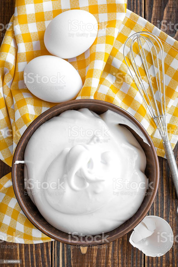 Whipped eggs stock photo
