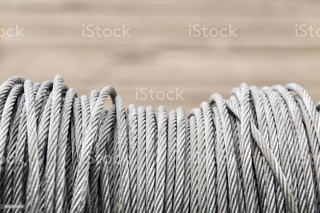 Whire rope cable spool 1 stock photo