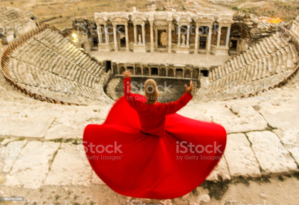 Whirling dance in the theatre...Hierapolis royalty-free stock photo