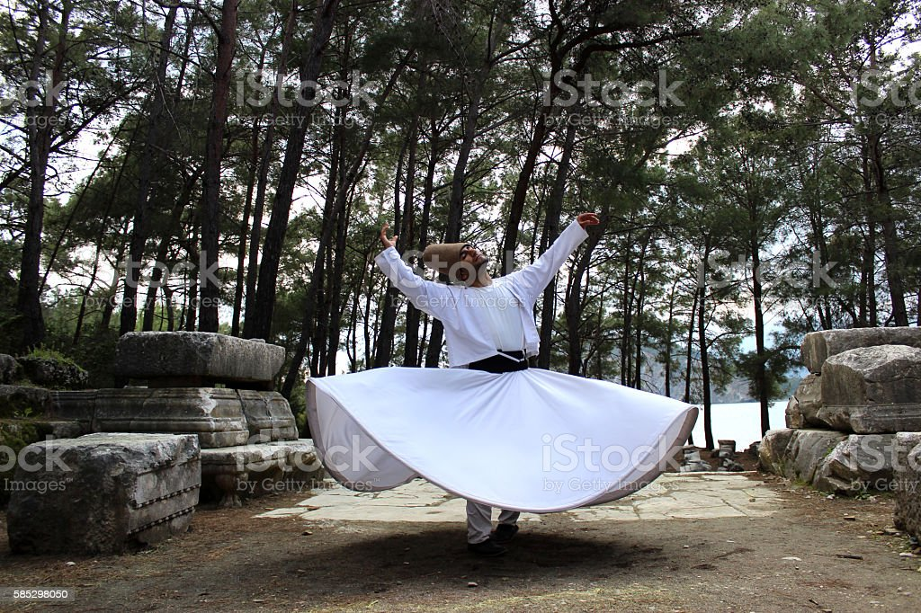 Whirling dervish on the King's Road...Phaselis stock photo