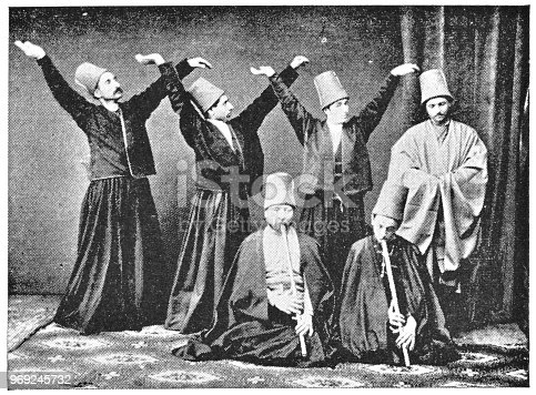 Whirling Dervishes in Istanbul, Turkey. Vintage halftone photo circa late 19th century.