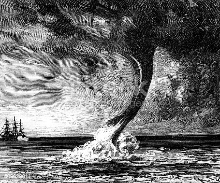 Close up of a marine tornado and a galleon in the background.