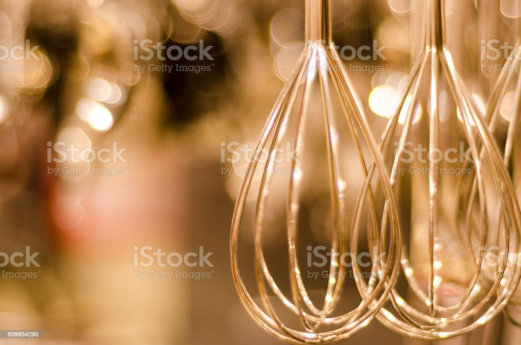 whisk mixer in soft focus stock photo