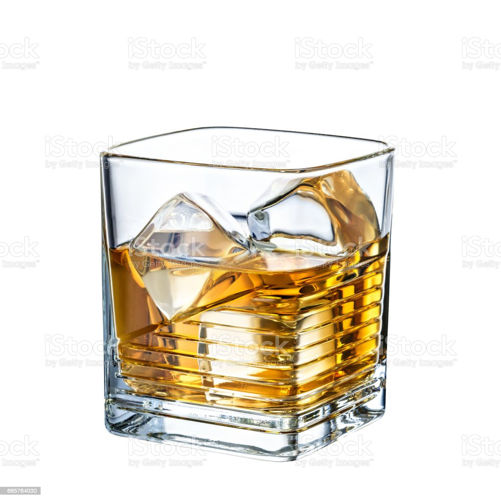 whiskey alcohol  cocktail on white background royalty-free stock photo