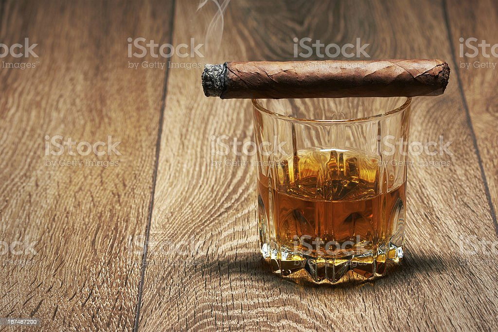 Whiskey and Cigar royalty-free stock photo
