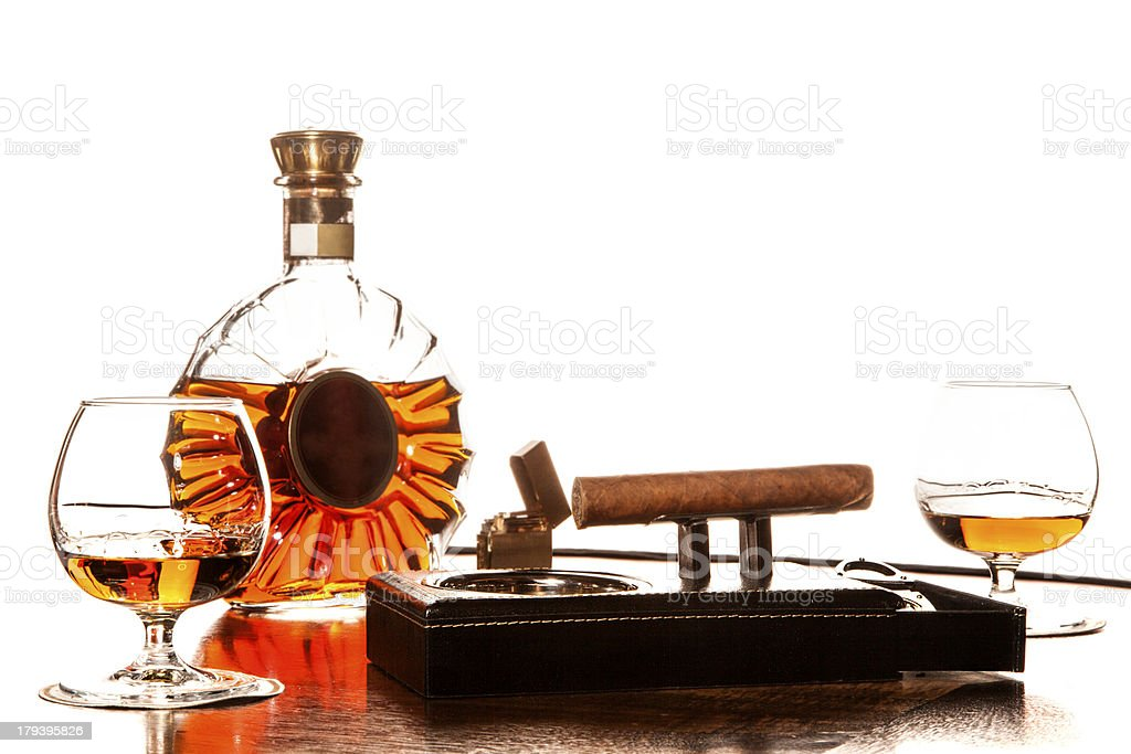 Whiskey and Cigars stock photo
