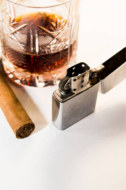 Whiskey and cuban cigar stock photo