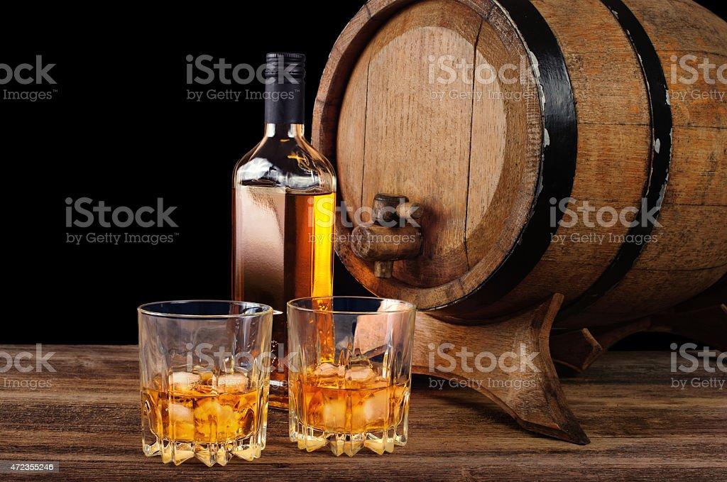 Whiskey and oak barrel stock photo