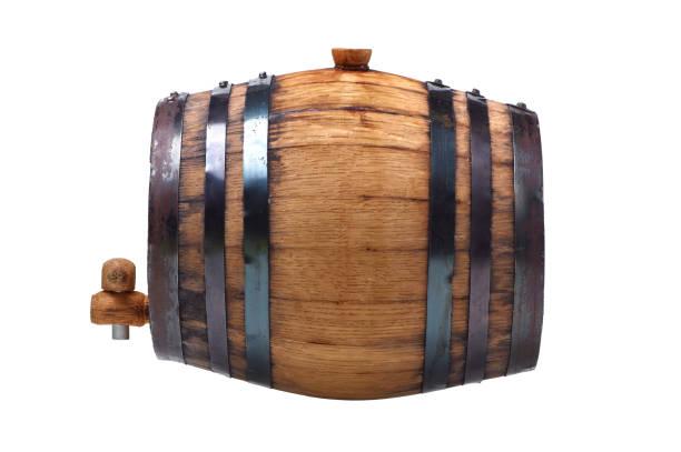 Whiskey barrel on a white background stock photo