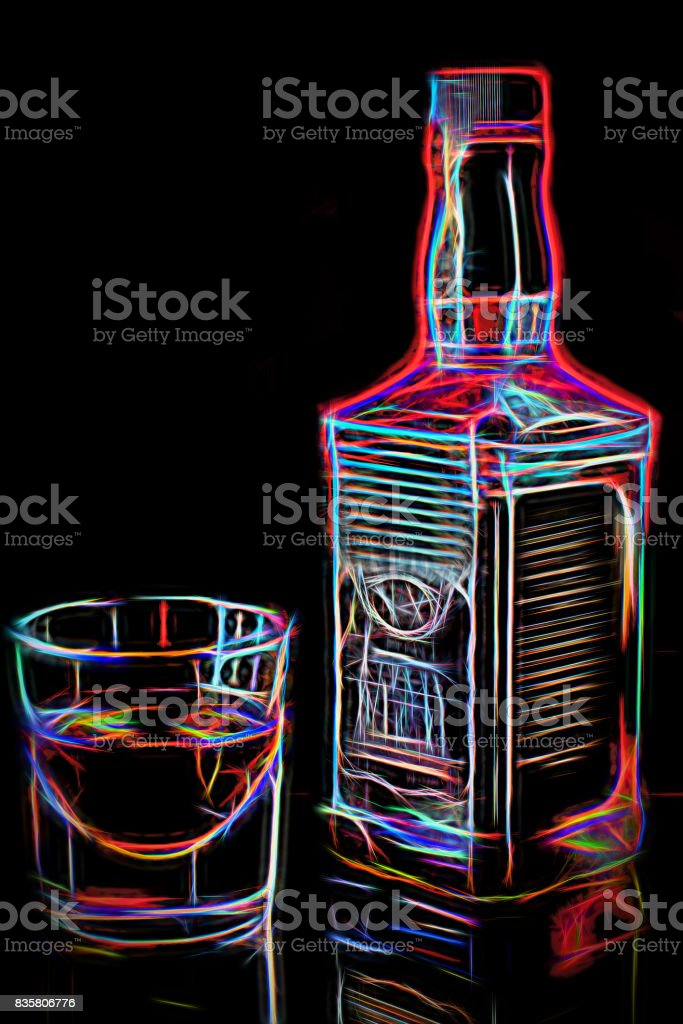 Whiskey bottle and glass with whiskey in soft light. Pleasant pastime concep. Neon glowing Illustration stock photo