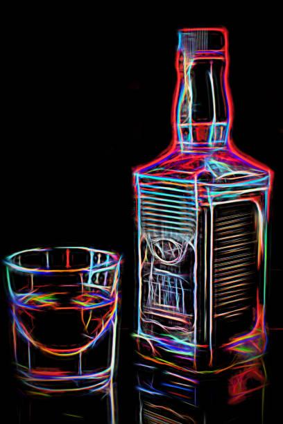 whisky-flasche und glas mit whiskey in weiches licht. angenehmer zeitvertreib freihafengelände. neon leuchtende abbildung - partylabels stock-fotos und bilder