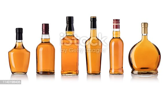 whiskey bottle isolated on white background