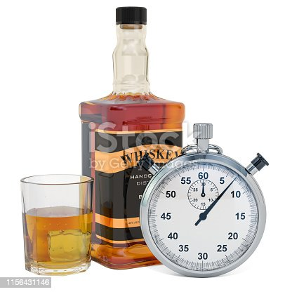 istock Whiskey bottle with chronometer, 3D rendering isolated on white background 1156431146