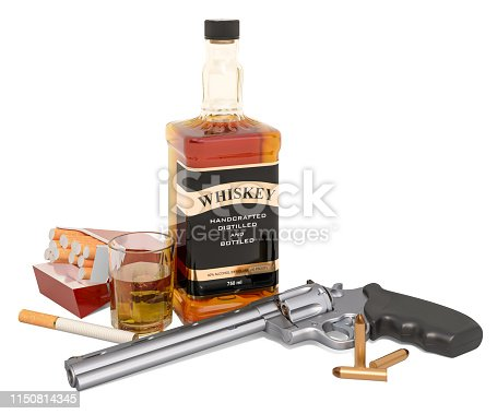 istock Whiskey bottle with revolver, cigarettes  and bullets. 3D rendering isolated on white background 1150814345
