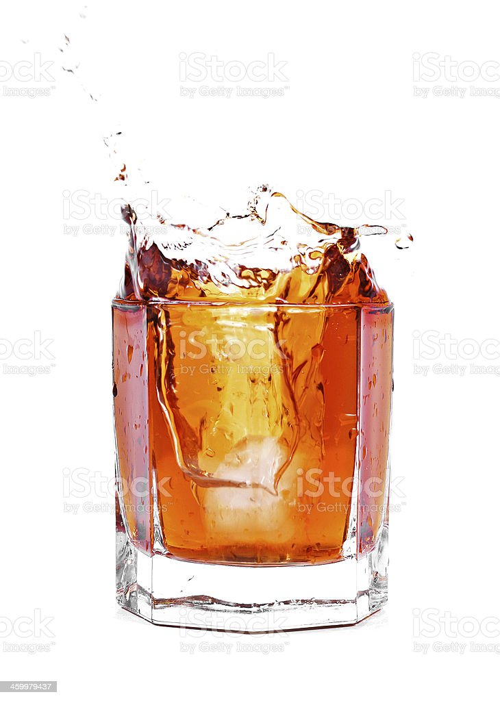 whiskey cocktail splash isolated on white royalty-free stock photo