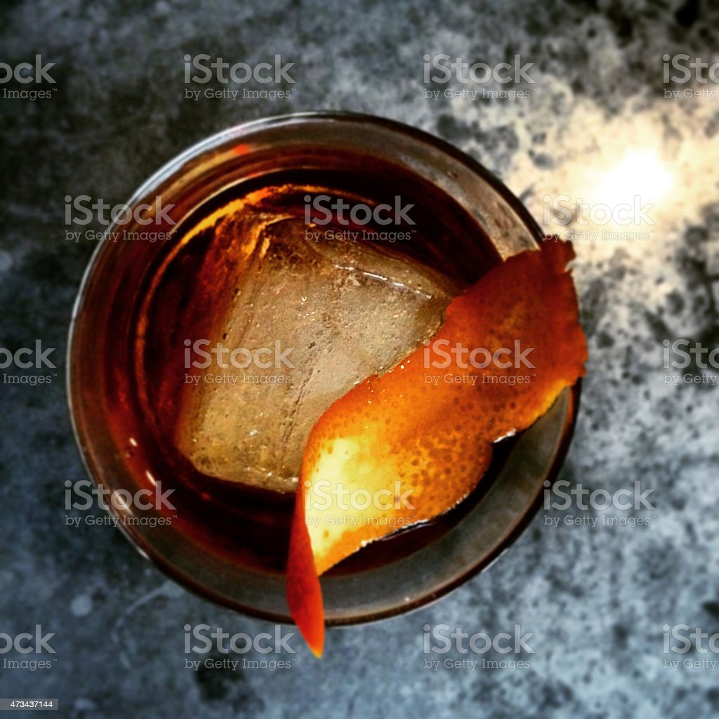 Whiskey Cocktail with Orange Peel stock photo