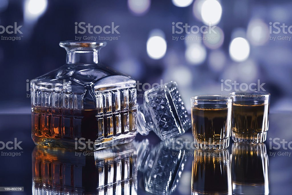 whiskey decanter stock photo