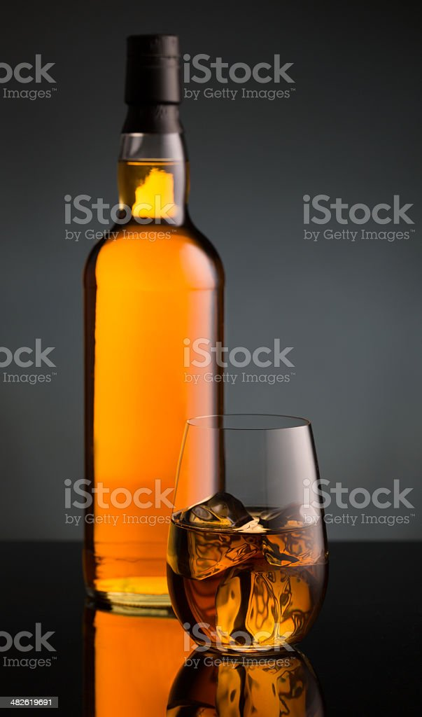 Whiskey Glass and Bottle royalty-free stock photo