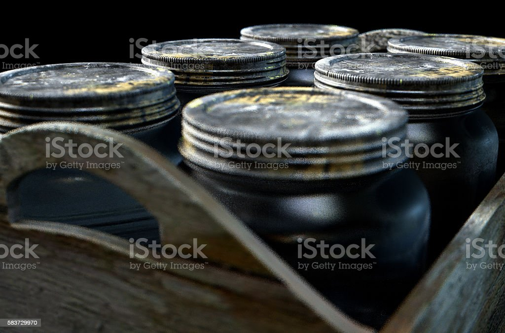 Whiskey Jars In A Crate stock photo
