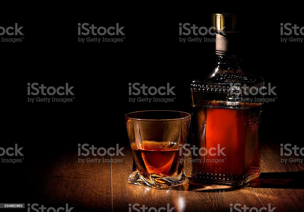 Whiskey on table stock photo