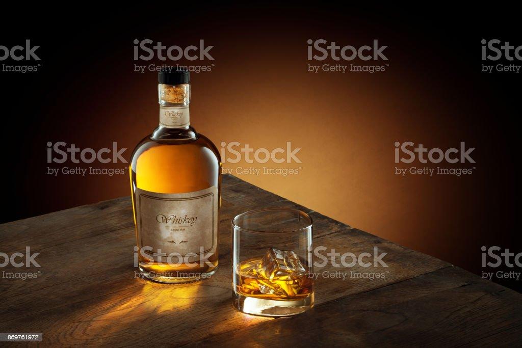 whiskey on wood stock photo