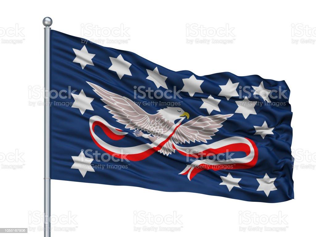 Whiskey Rebellion Flag On Flagpole, Isolated On White stock photo