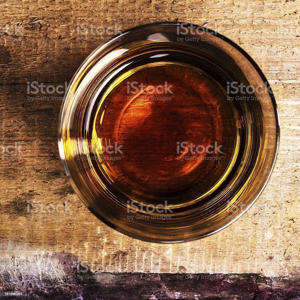 whiskey Scotch  on wooden background with copyspace stock photo