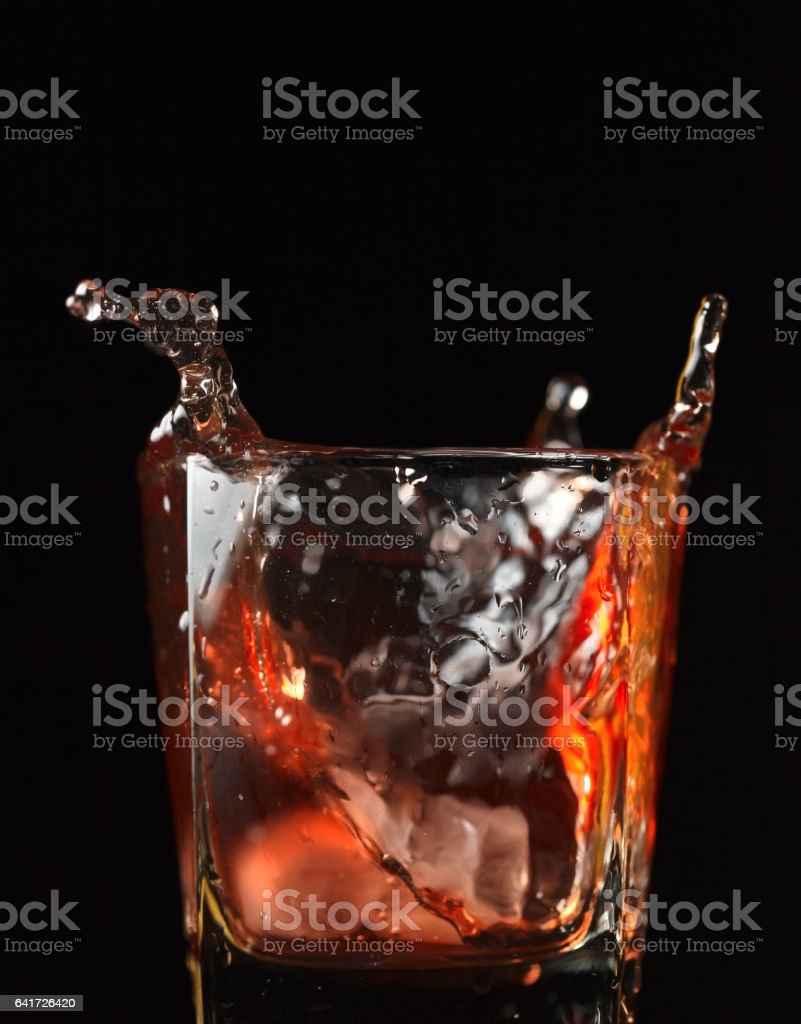 Whiskey with ice stock photo