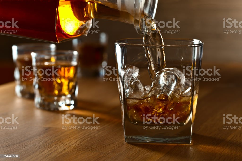Whiskey with ice . stock photo