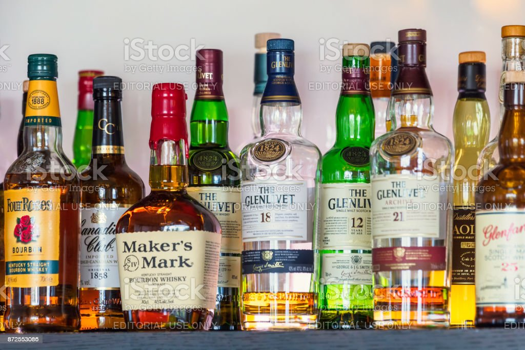 Whiskies and bourbons stock photo