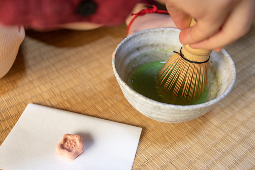Whisking Matcha, Japanese tea ceremony