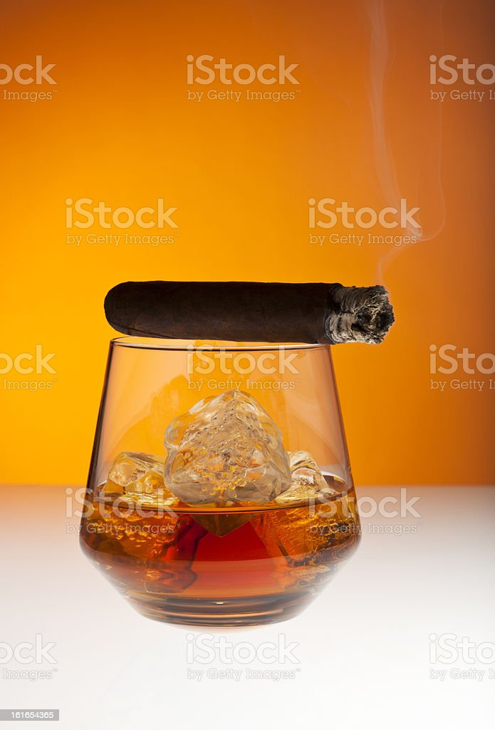 Whisky and cigar royalty-free stock photo
