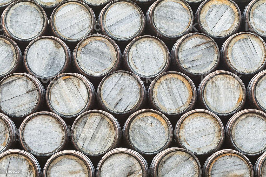 Whisky barrels background stock photo