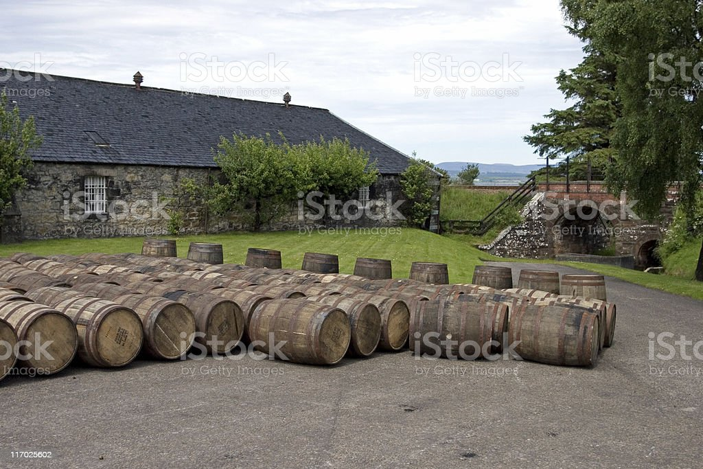 Whisky barrels stock photo