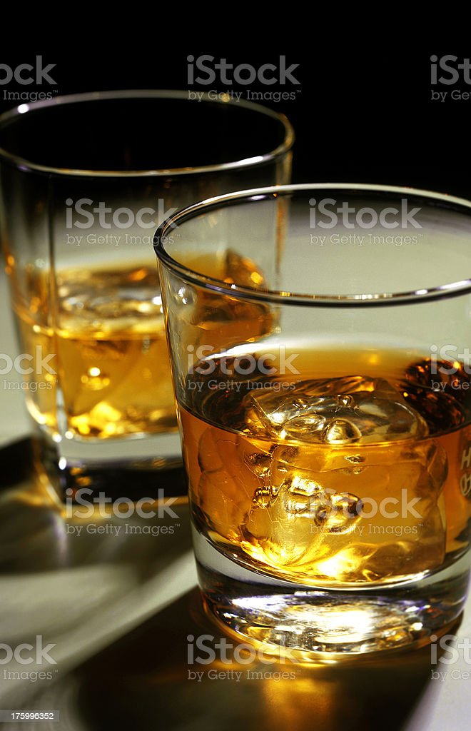 whisky glasses ice cubes royalty-free stock photo