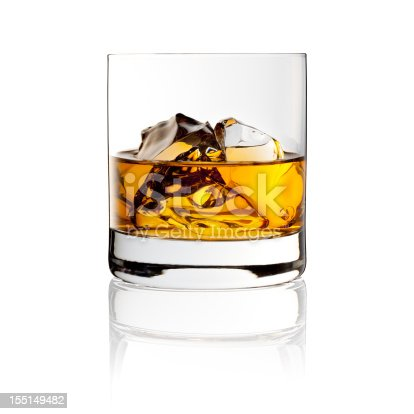 Photography of a glass whisky with ice.