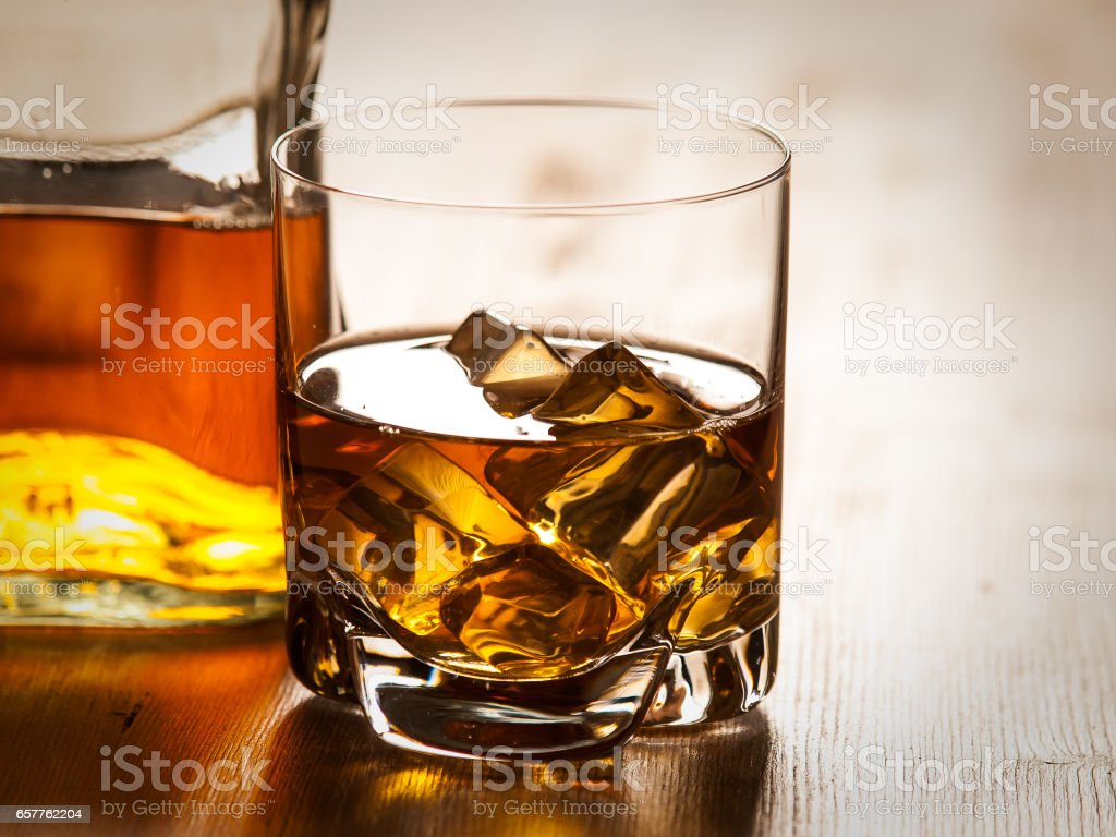 Whisky on the rocks stock photo