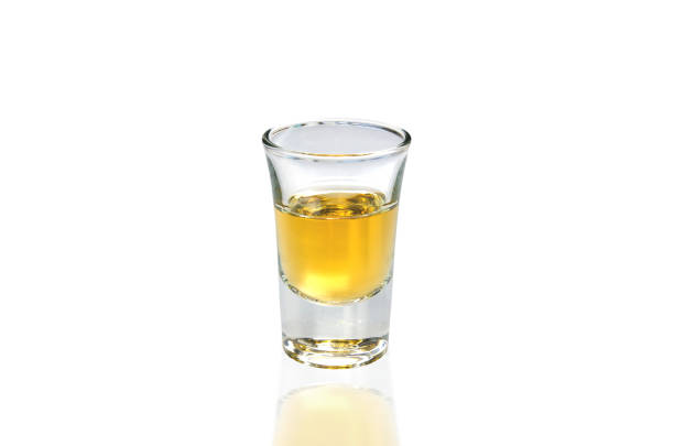 Whisky Shot Whisky Shot on white background tequila shot stock pictures, royalty-free photos & images
