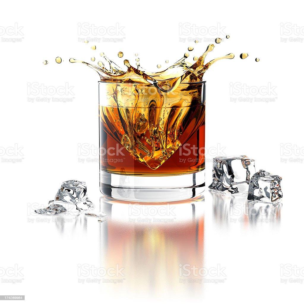 Whisky Splash. Isolated On White stock photo