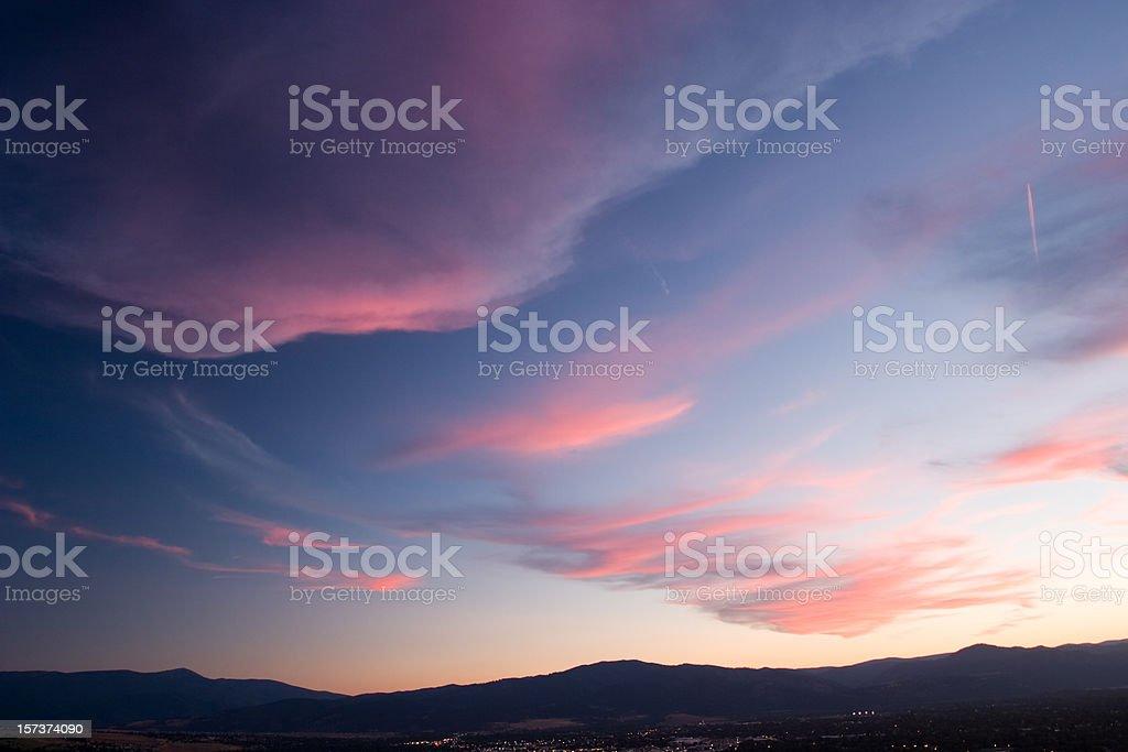 Whispy Sunset over Missoula Montana royalty-free stock photo